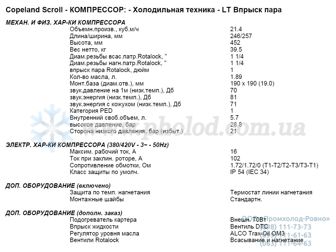 specifications ZF25K5E EVI