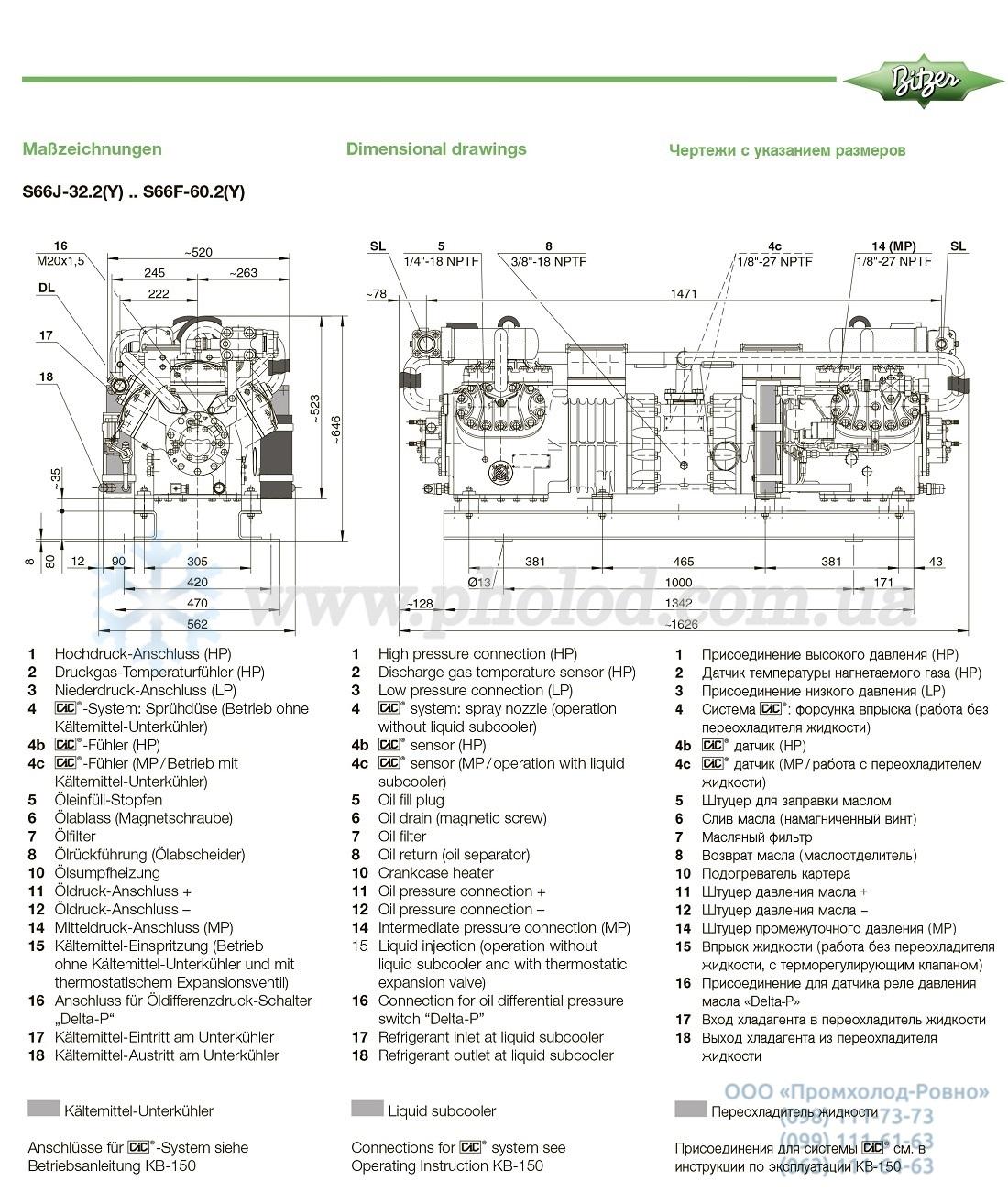 Dimensions Bitzer 2 Stage Compressor