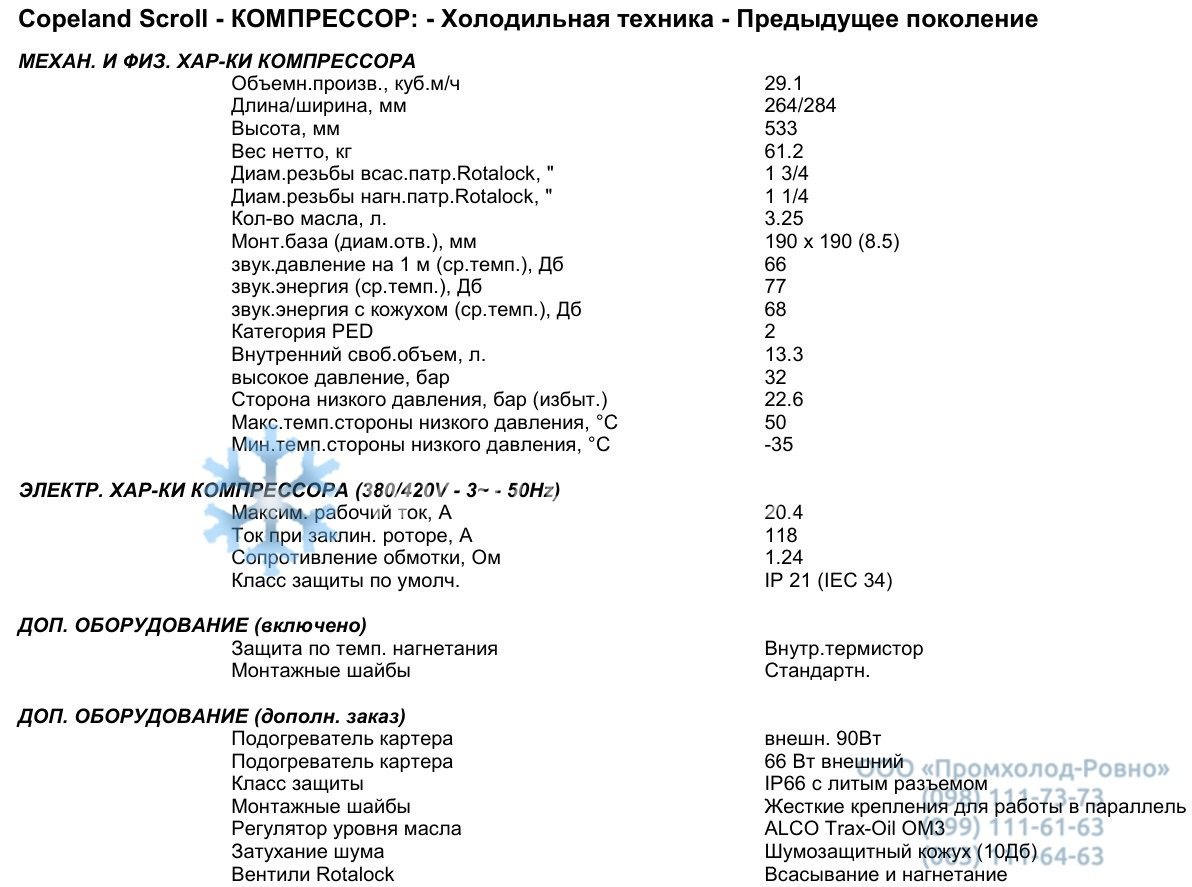 General characteristics ZB76KCE-TFD-551
